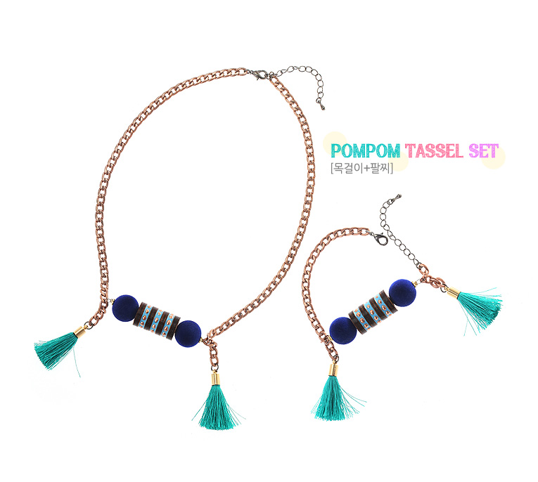 [ 4xtyle ] (NECKLACE+BRACELET) POMPOM TASSEL SET