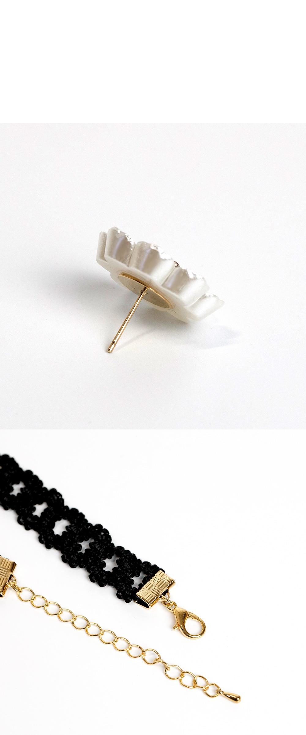 [귀걸이+목걸이] 리네 플라워 세트 - 폭스타일, 18,000원, 주얼리세트, 패션세트